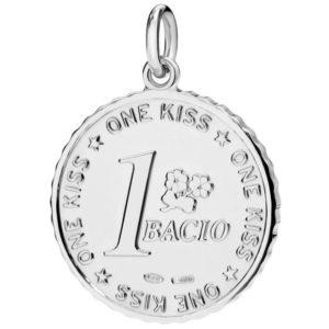 moneta un bacio.una piccola fortuna, un bacio.argento