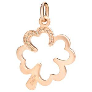 silhouette.quadrifoglio.oro rosa mat e diamanti brown
