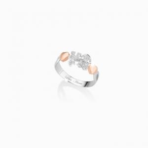 i classici.anelli.oro bianco.cuori oro rosa.bimba e bimbo pavè