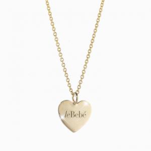 le coccole.collana.cuore con incisione le bebè.oro giallo