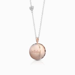 suonamore.luna.argento.traforato.argento e pvd rosa.catena con cuoricino.90cm